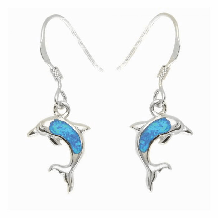 Silver/Rhodium Shiny Textured Small Opal Dolphin Drop Earring