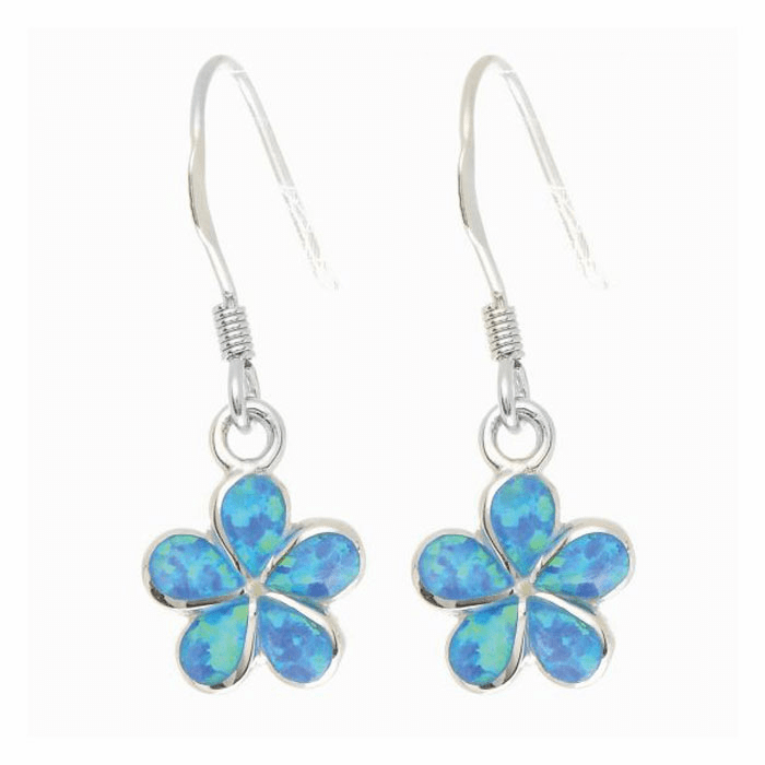 Silver/Rhodium Shiny Textured Small Opal Flower Drop Earring
