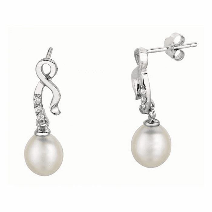 Silver/Rhodium Shiny White Pearl Fancy Twisted Dangle Earring