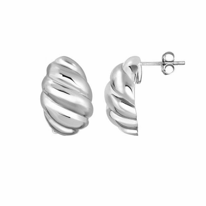 Silver Rhodium Swirl Ridged Oval Post Earring with Omega Back Clasp