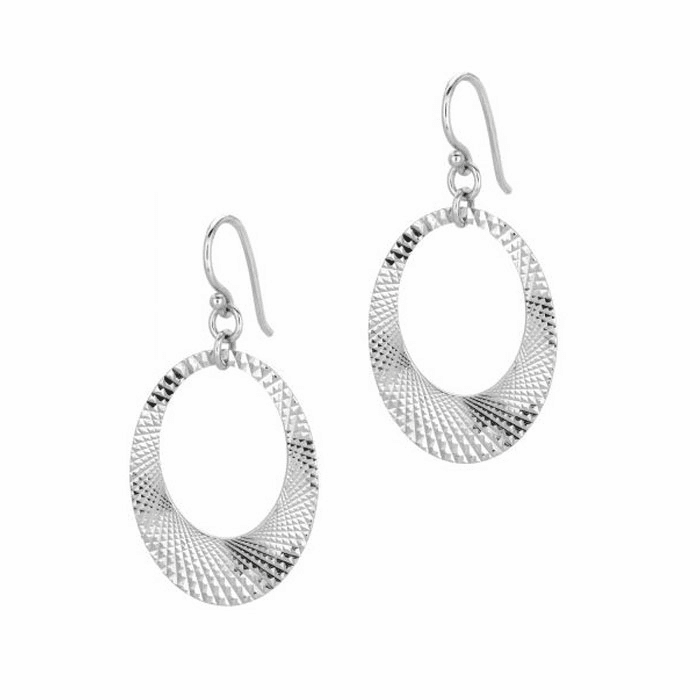 Silver Rhodium Textured Shiny Open Oval In Oval Type Drop Earring