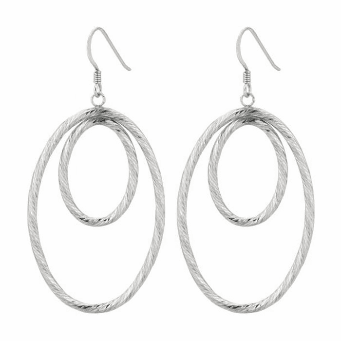 Silver Rhodium Textured Shiny Small Open Oval Tube In Large Earring