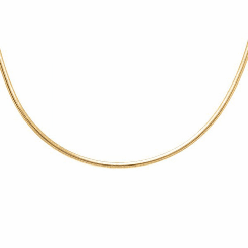 Silver Rhodium + Yellow 4.0mm Shiny Domed 2 Tone Revers Omega Necklace