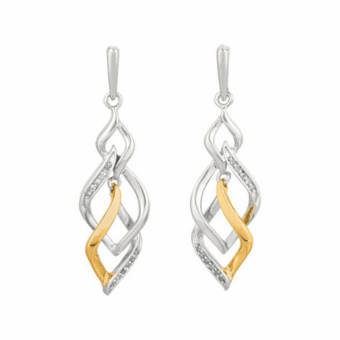 Silver/Rhodium/Yellow Shiny 0.10Ct White Diamond Intertwine Earring