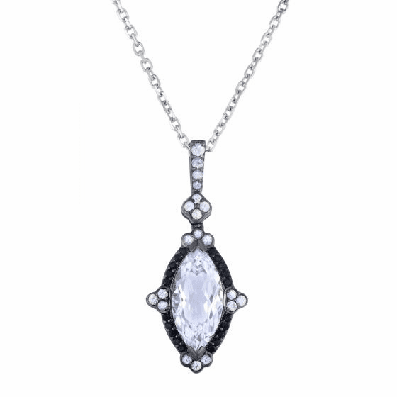 Silver Rock Crystal Quartz with Black/White Sapphire Marquise Pendant