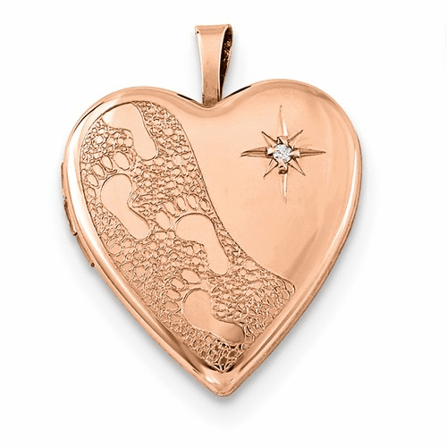 Silver Rose Gold-plated 20mm D/c Footprints Heart Locket