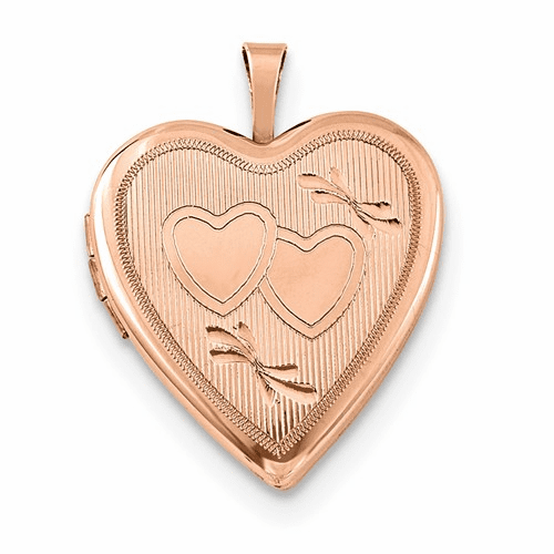 Silver Rose Gold-plated 20mm Double Hearts Heart Locket