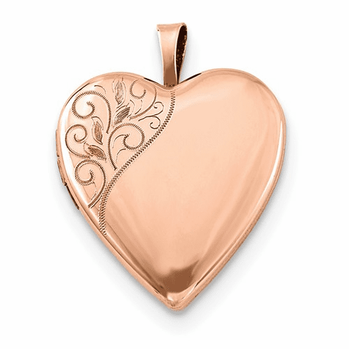 Silver Rose Gold-plated 20mm Polished Swirl Heart Locket