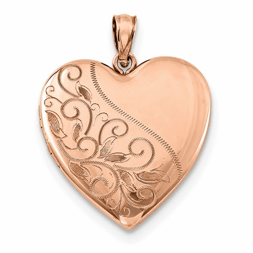 Silver Rose Gold-plated 24mm Scrolled Heart Family Locket
