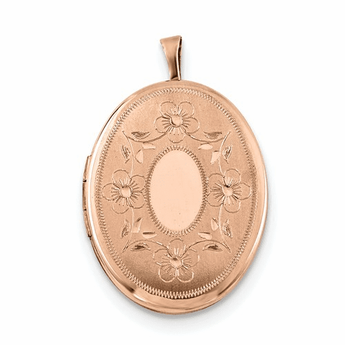 Silver Rose Gold-plated 26mm Oval With Flowers Oval Locket