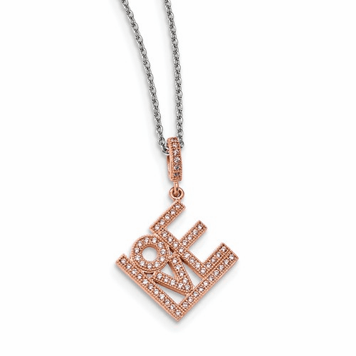Silver Rose Gold-plated Cz Brilliant Embers Love Necklace
