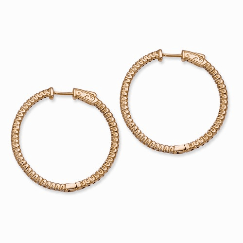 Silver Rose Gold-plated Cz In And Out Round Hoop Earrings
