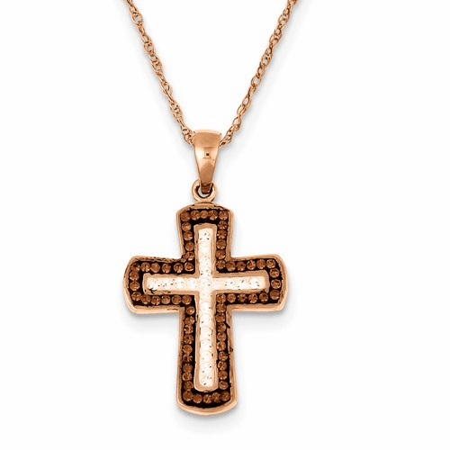 Silver Rose Gold Plated Stellux Crystal Cross Necklace