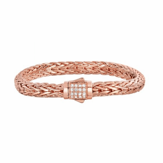Silver Rose Gold Vermeil Finish Woven Bracelet with White Sapphires