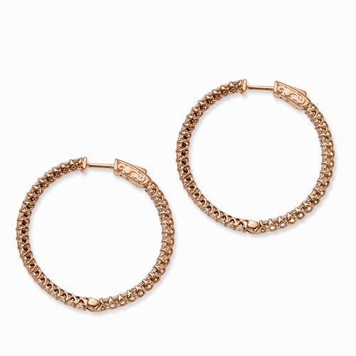 Silver Rose Ip-plated Cz In And Out Hinged Hoop Earrings