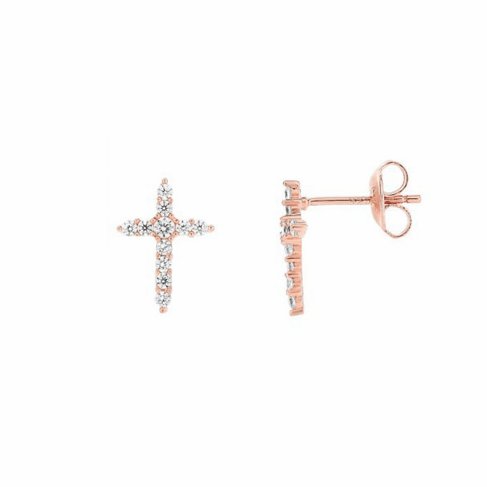 Silver/Rose Shiny 9X13mm White CZ Fancy Cross Post Earring