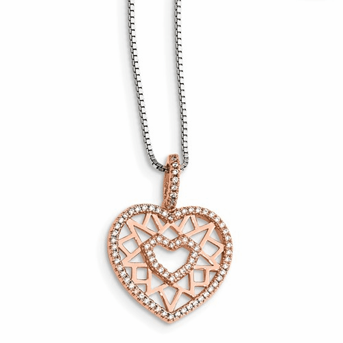 Silver Rose-tone Cz Brilliant Embers Heart Necklace