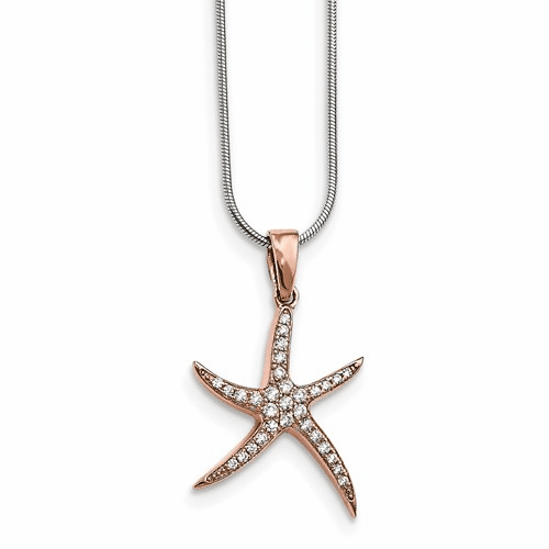 Silver Rose-tone & Cz Brilliant Embers Starfish Necklace