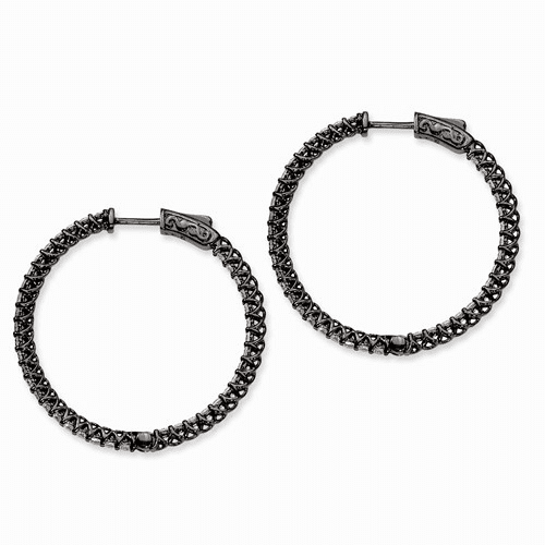 Silver Ruthenium-plated Cz In And Out Hinged Hoop Earrings