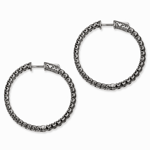 Silver Ruthenium-plated Cz In And Out Round Hoop Earrings