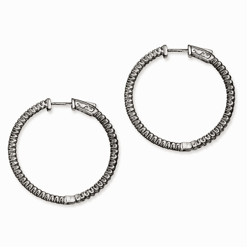 Silver Ruthenium-plated In And Out Cz Round Hoop Earrings