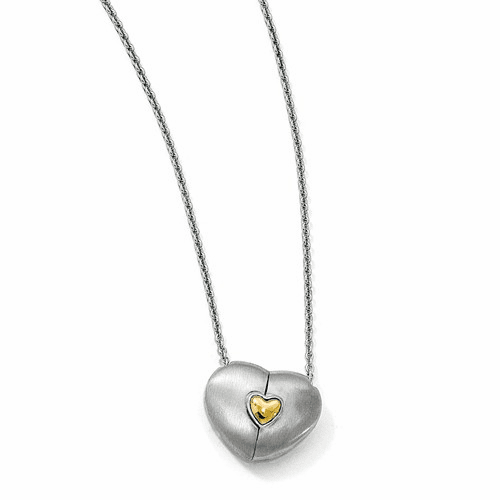 Silver Satin Gold-plated Magnetic Heart Adjustable Necklace QPA103