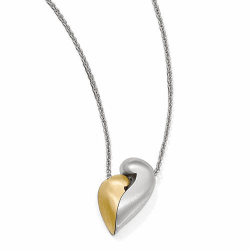 Silver Satin Gold-plated Magnetic Heart Adjustable Necklace QPA112