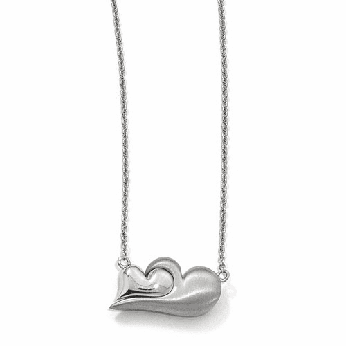Silver  & Satin Magnetic Double Heart Adjustable Necklace QPA109