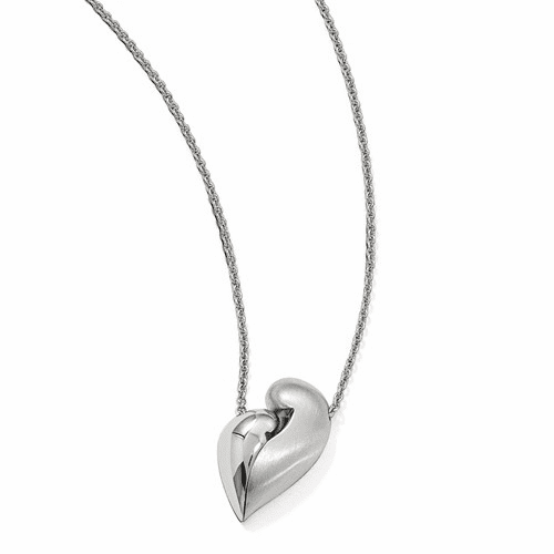 Silver  & Satin Magnetic Heart Adjustable Necklace QPA113
