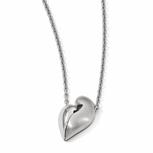 Silver  & Satin Magnetic Mini Heart Adjustable Necklace QPA114