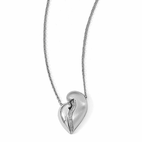 Silver  & Satin W/.042ct Dia Magnetic Heart Adjustable Necklace QPA115