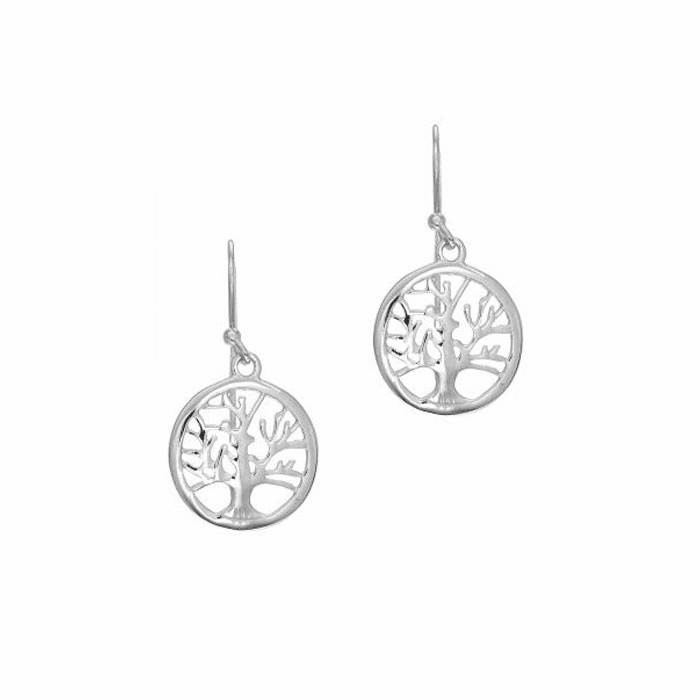 "Silver Shiny 17X33mm Round Tree Of Life Drop ""J"" Hook Earring"