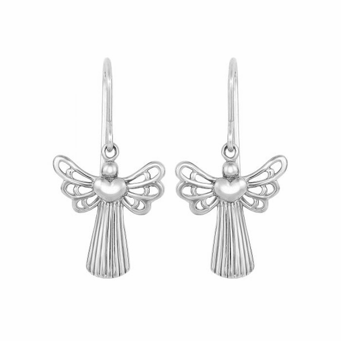 Silver Shiny 30X14mm Open Wing Angel Drop Earring with Euro Wire Clasp