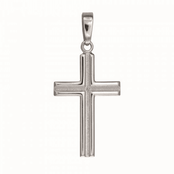 Silver Shiny Border with Concave Textured Center Flat Cross Pendant