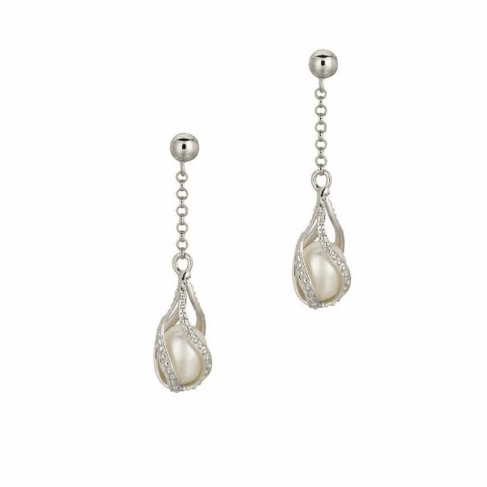 Silver Shiny Chain Link Fancy Twisted Tear Drop White Pearl Earring