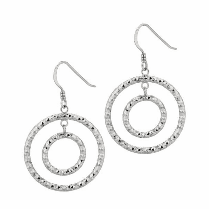 Silver Shiny Small Open Ring In Large Open Circle Dangle Earring