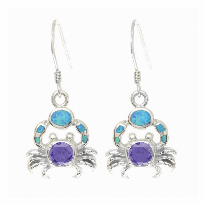 Silver Shiny Textured Opal Crab Drop Earring with Round Amethyst Stone