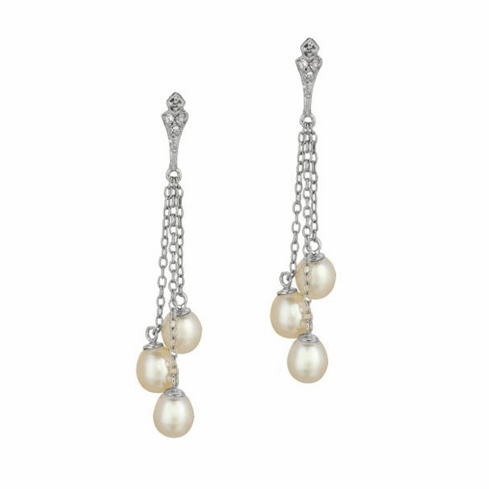 Silver Shiny Triple Link Cable Chain Triple Pearl Fancy Earring