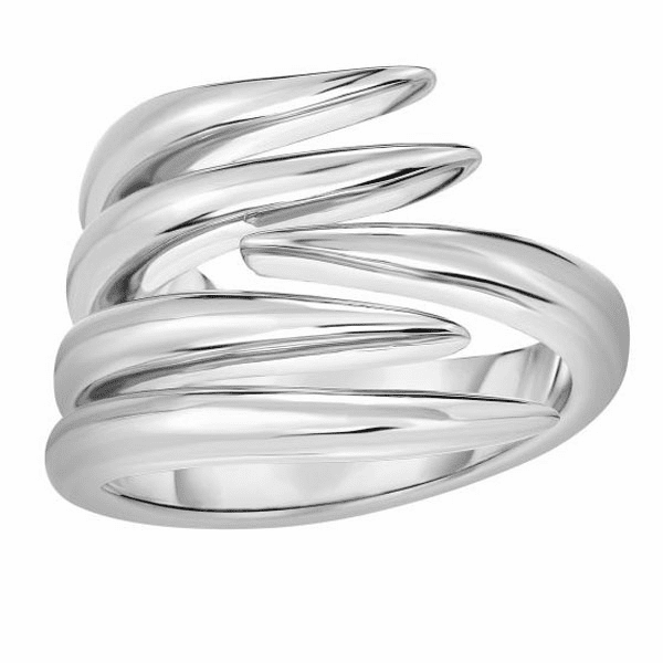Silver Size-7 with Rhodium 3.6-17mm Shiny Fancy Graduated Vine Ring