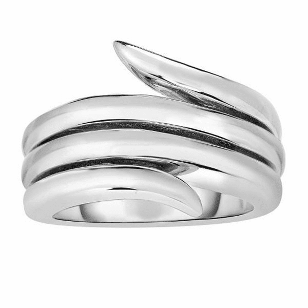 Silver Size-7 with Rhodium 6.2-14mm Shiny Fancy Graduated Vine Ring