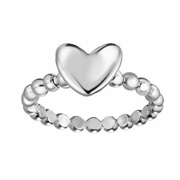 Silver Size-7 with Rhodium Finish 2.7-8.6mm Shiny Heart Ball Knob Ring