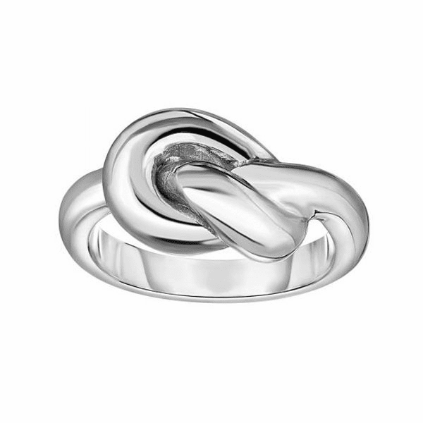 Silver Size-7 with Rhodium Finish 3.5-12mm Shiny Tube Knot Ring