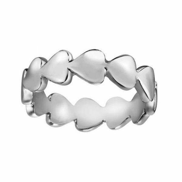Silver Size-7 with Rhodium Finish 5.5mm Shiny Heart Band Ring