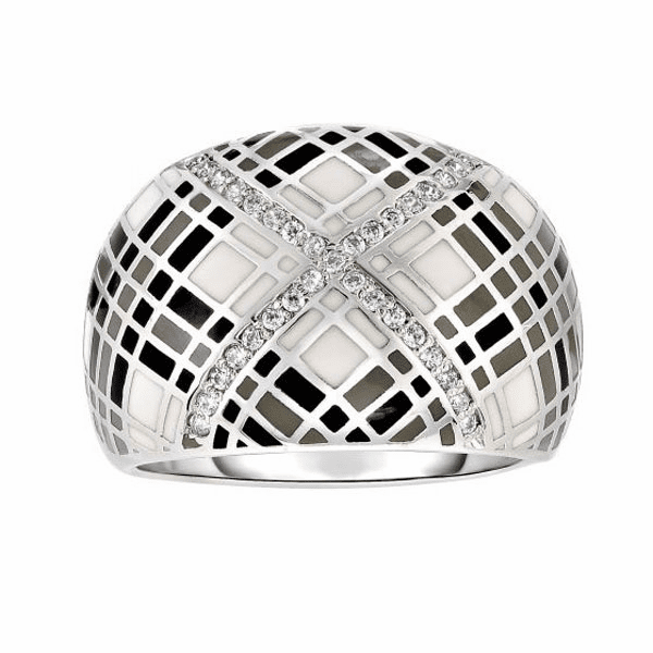 Silver Size-7 with Rhodium Finish Graduated Dome Ring