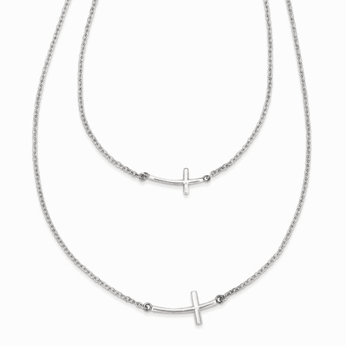 Silver Small & Large Sideways Curved Cross 2-layer Necklace