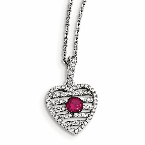 Silver Synthetic Ruby & Cz Brilliant Embers Heart Necklace