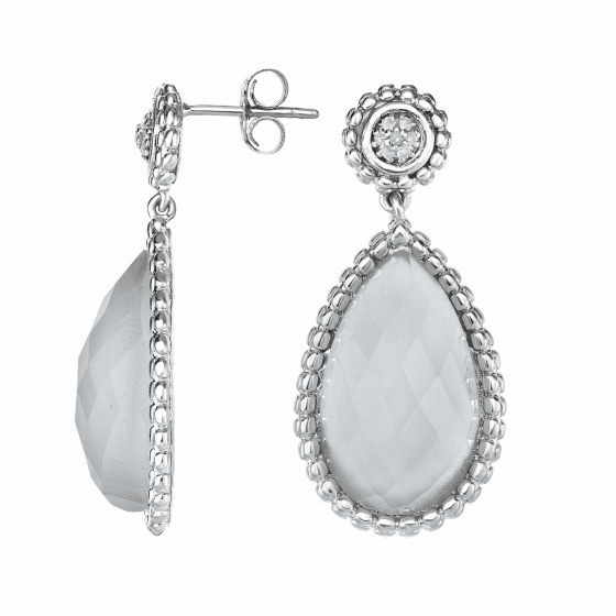 Silver Teardrop Popcorn Earrings, Aqua Chalcedony & Diamond