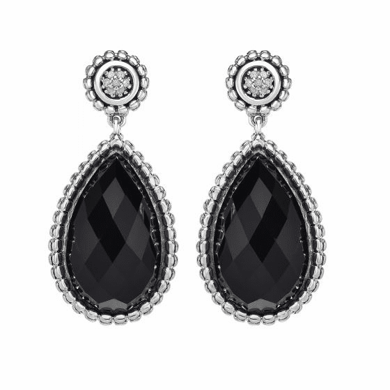 Silver Teardrop Popcorn Earrings, Black Onyx & Diamond