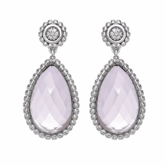 Silver Teardrop Popcorn Earrings, Rose Quartz & Diamond