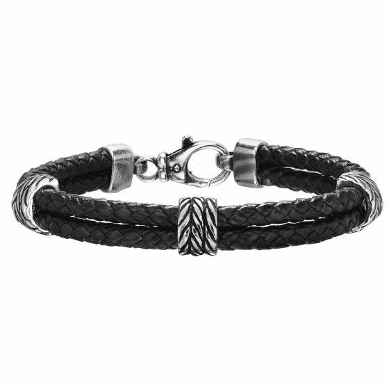 Silver Textured 2-strand Woven Black Leather Bracelet